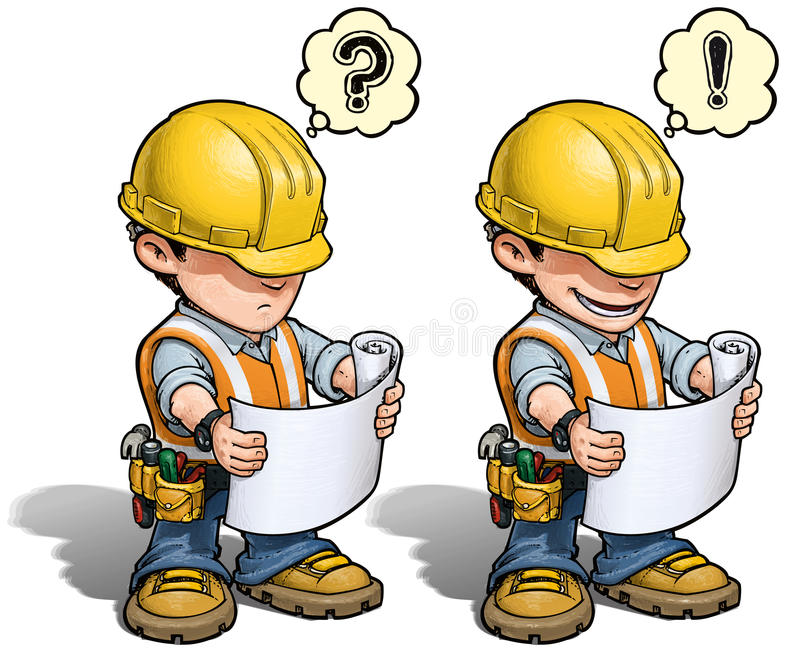 Construction Worker - Reading Plan royalty free illustration