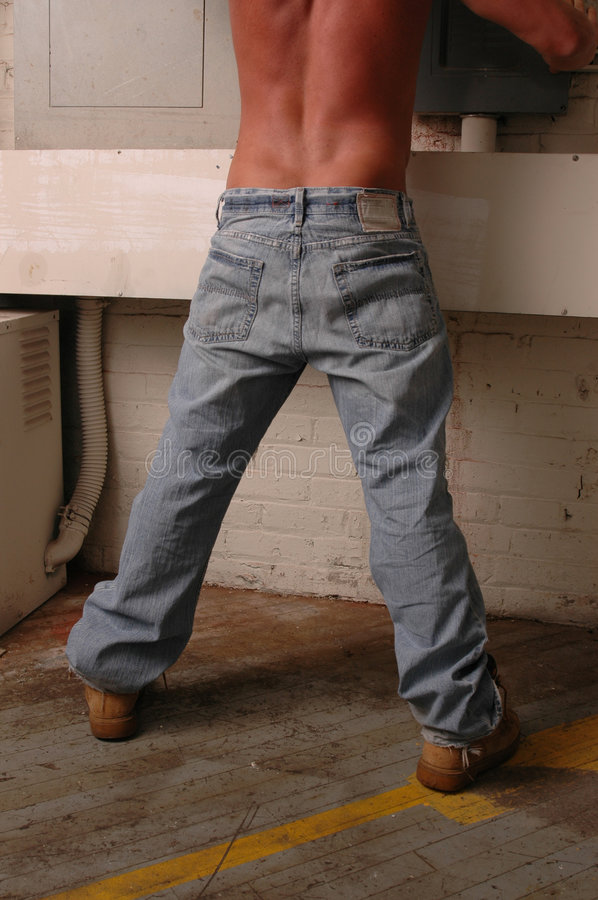Download Construction Worker Rear View Stock Image - Image: 1477847