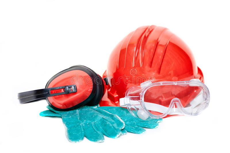 Construction worker safety protection gear and accessories. Isolated on white background stock photo