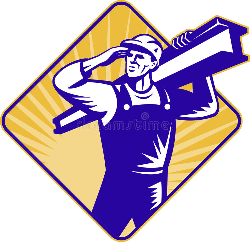Construction worker salute carry i-beam stock illustration