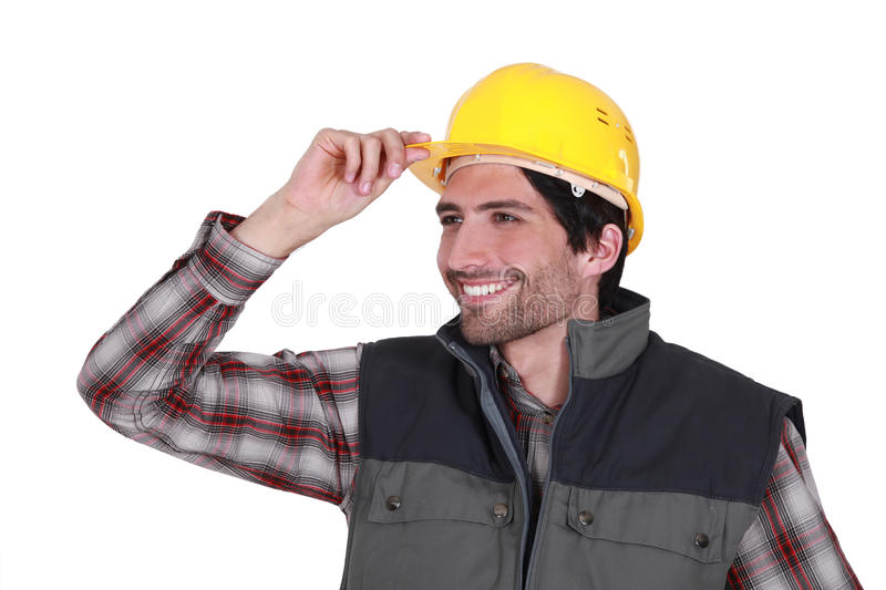 Construction worker saying hello. royalty free stock photography