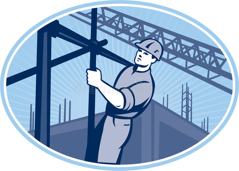 Download Construction Worker Scaffolding Retro Stock Vector - Illustration of scaffold, worker: 32193003
