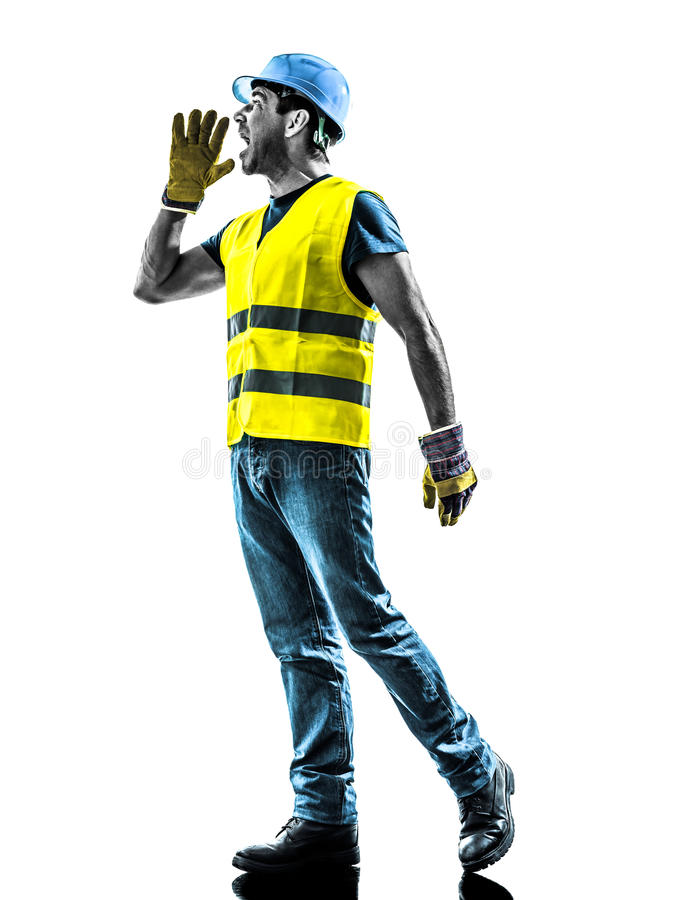 Construction worker screaming safety vest. One construction worker screaming with safety vest silhouette isolated in white background royalty free stock photo
