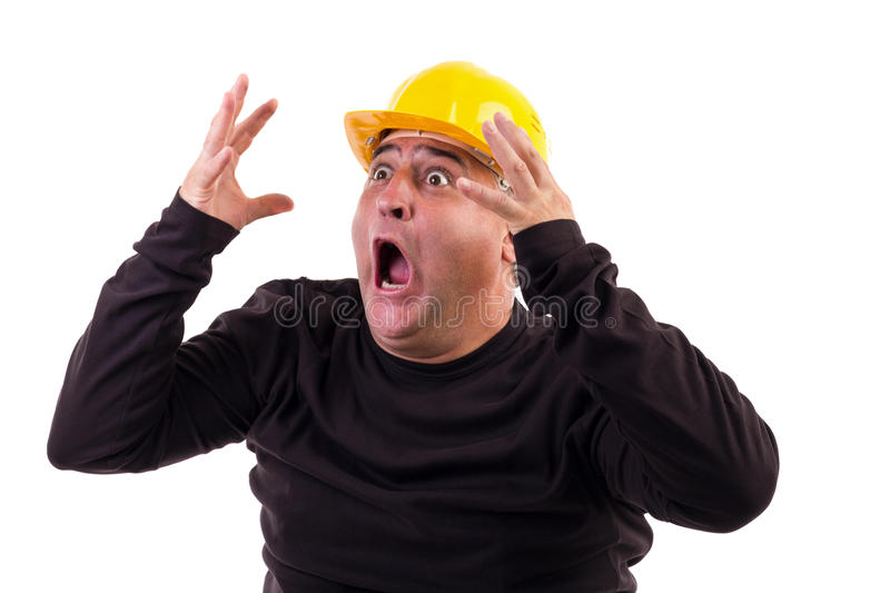 Construction worker screaming in terror royalty free stock images