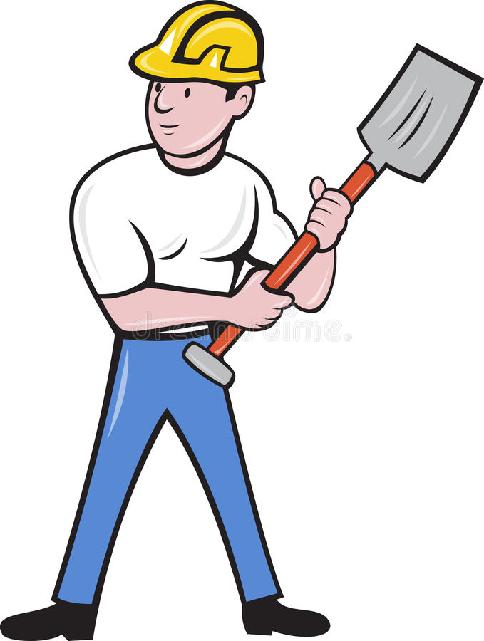 Download Construction Worker With Shovel Spade Stock Illustration - Image: 20282322