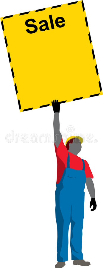 Download Construction Worker Showing Poster Stock Vector - Image: 1344715