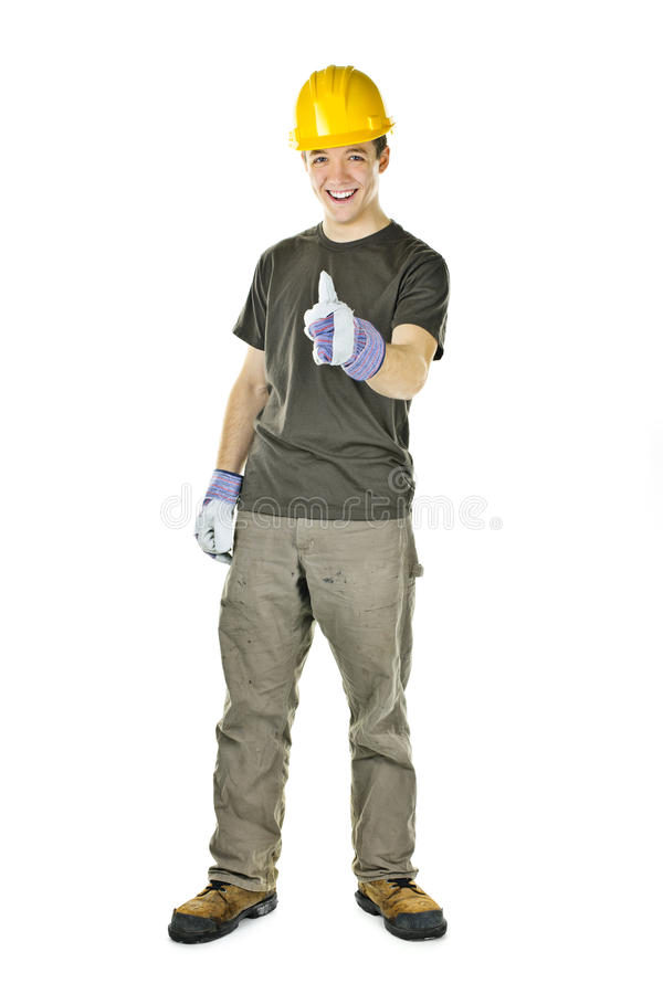 Construction worker showing thumbs up stock image