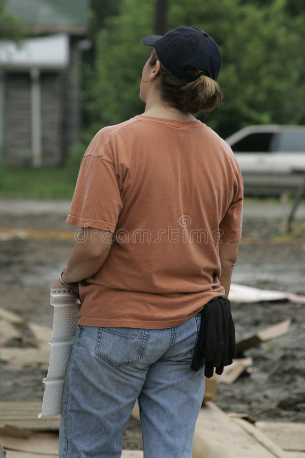Construction Worker with Siding stock photo