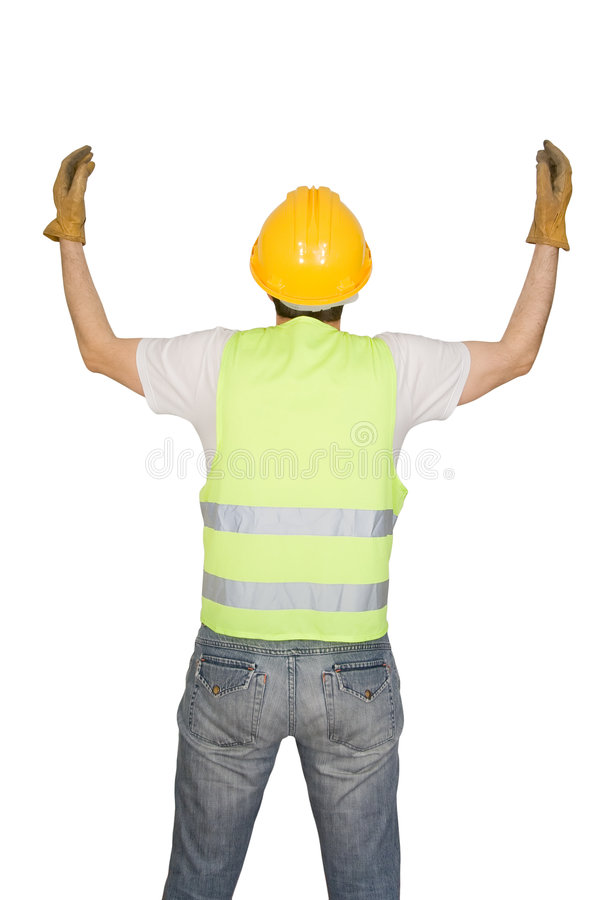 Construction worker signaling. Isolated on white background royalty free stock image