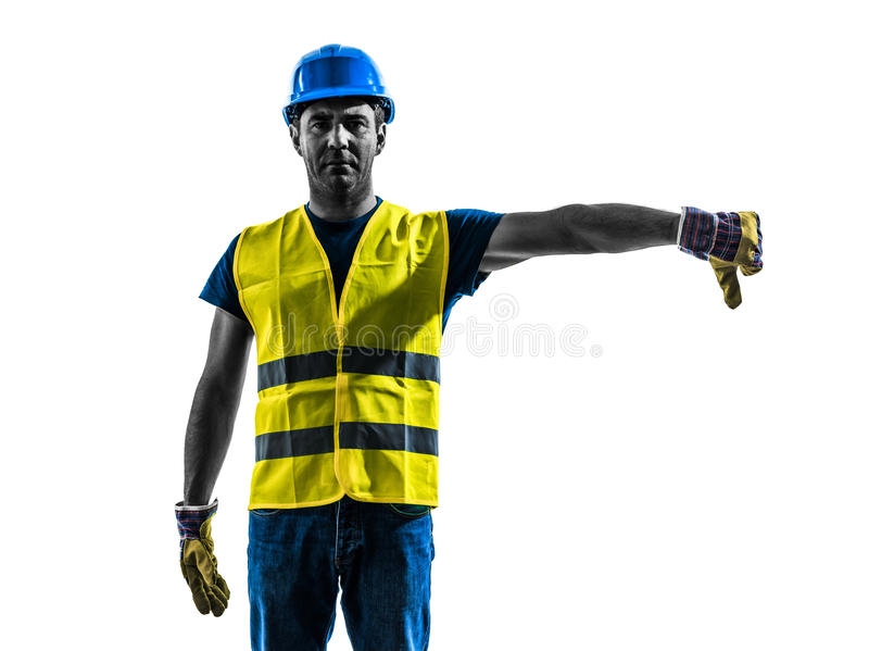 Construction worker signaling safety vest lower boom silhouette. One construction worker signaling with safety vest lower boom silhouette isolated in white royalty free stock image