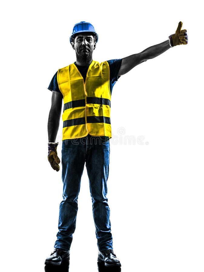 Construction worker signaling safety vest raise. One construction worker signaling with safety vest raise boom silhouette isolated in white background stock images