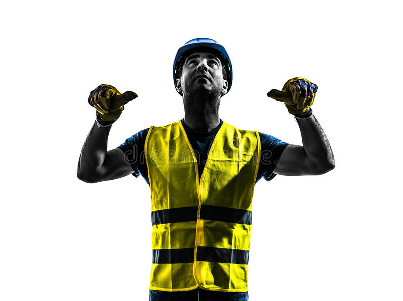 construction worker signaling safety vest retract boom silhouette royalty free stock photography