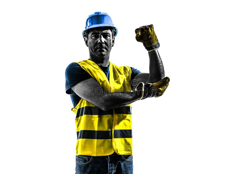 Construction worker signaling safety vest use whipline silhouette. One construction worker signaling with safety vest use whipline silhouette isolated in white royalty free stock photos