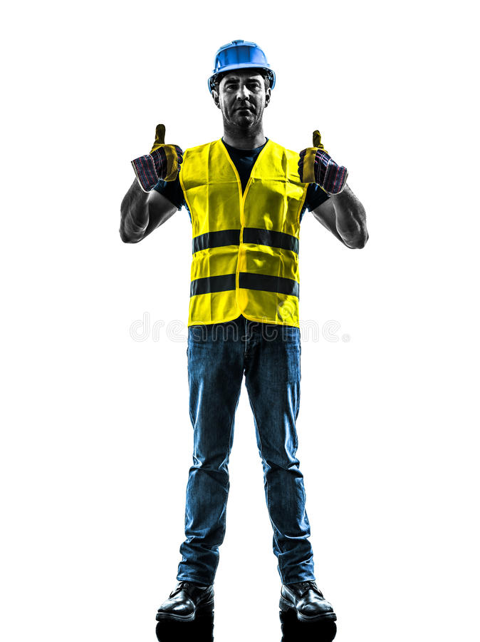 Construction worker signaling up silhouette royalty free stock photos