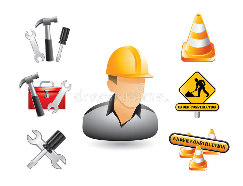 Construction worker, signs, and tools. Construction worker, hammers, screwdrivers, wrenches, toolbox, cones, and signs on white background stock illustration