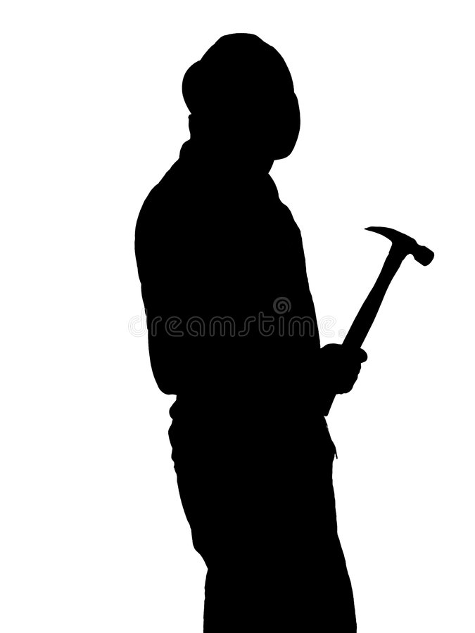 Construction Worker Silhouette Illustration royalty free illustration