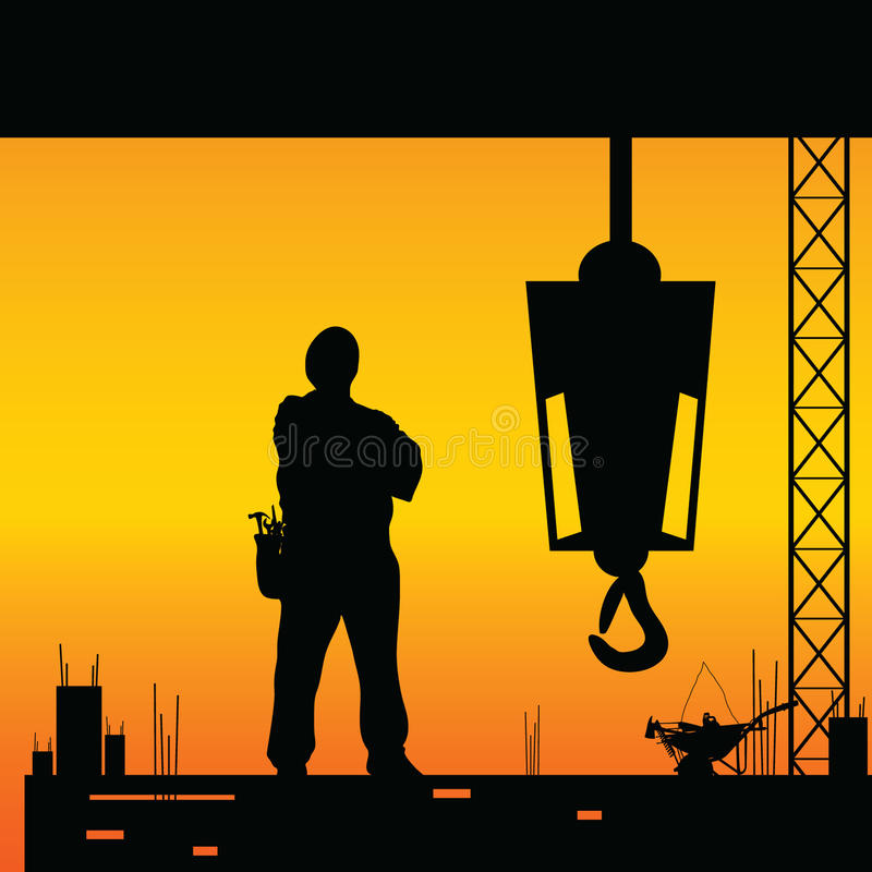 Construction worker silhouette vector vector illustration