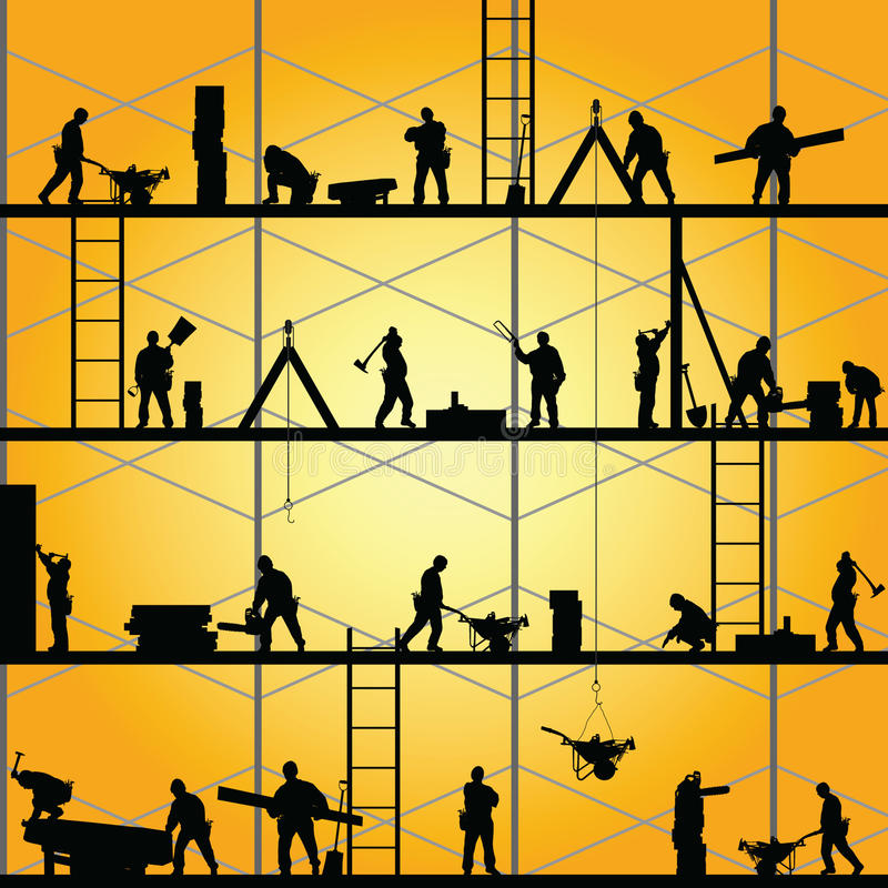 Construction worker silhouette at work vector vector illustration