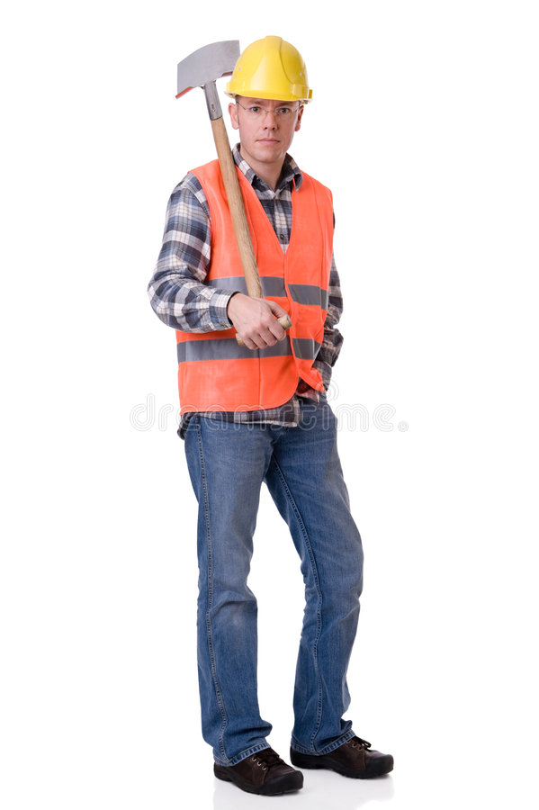 Construction worker with a spate. Full isolated studio picture from a young construction worker with a spate stock photography