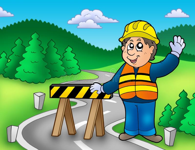 Construction worker standing on road. Color illustration royalty free illustration
