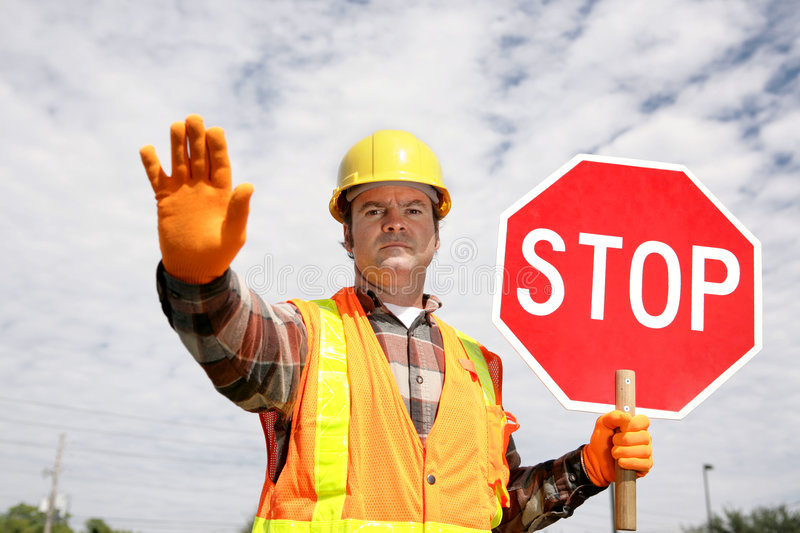 Construction Worker Stop stock photography