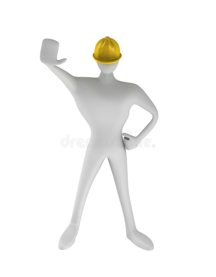 Construction Worker With Stop Gesture Stock Photo