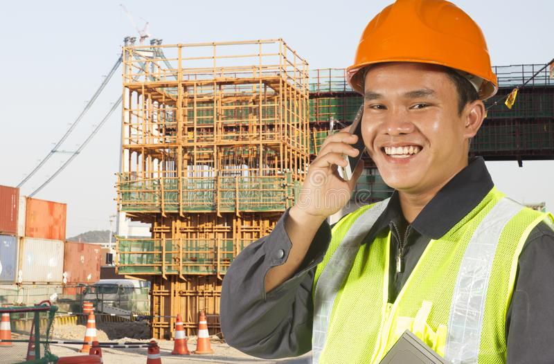 Construction worker on location site stock photography