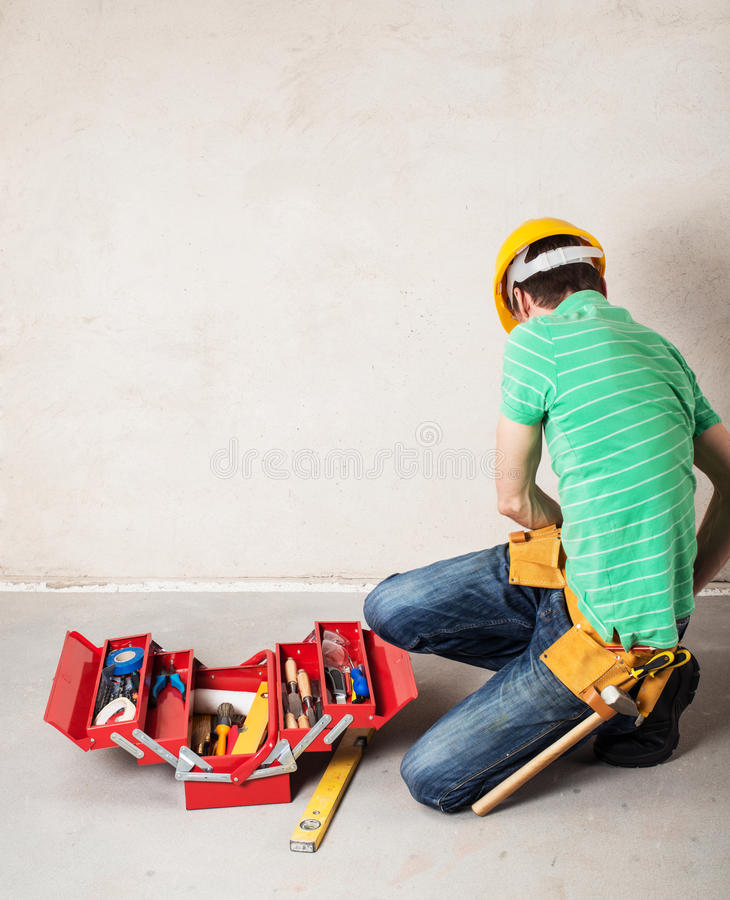 Construction worker with toobox royalty free stock images
