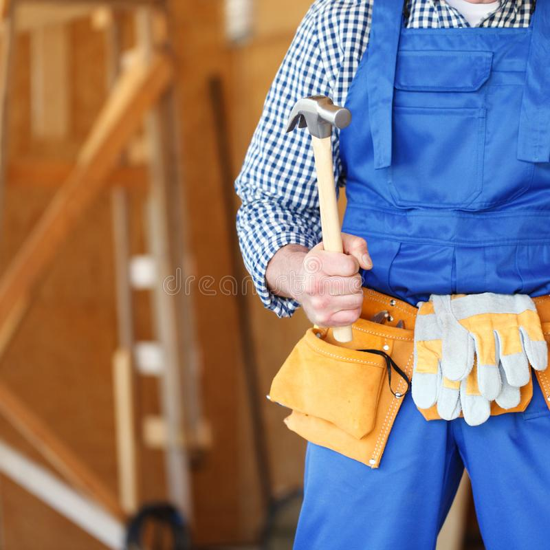 Construction worker with tools stock image