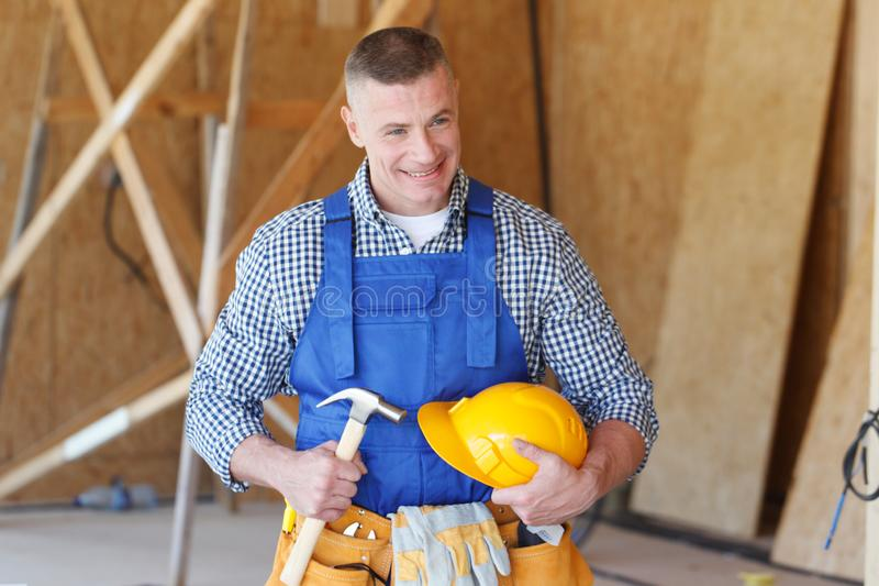 Construction worker with tools royalty free stock images
