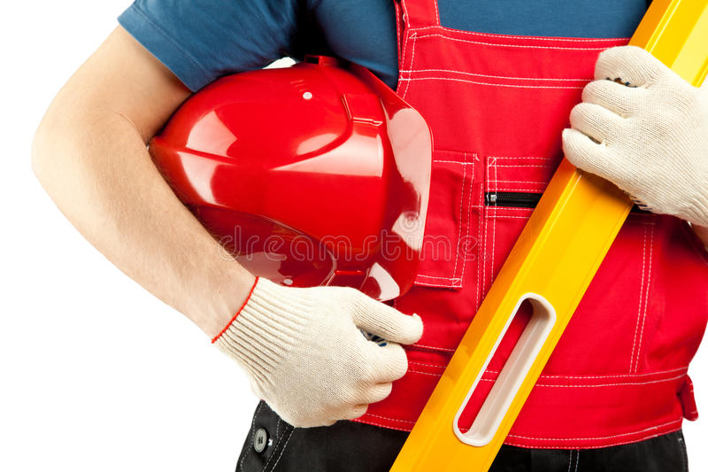 Construction worker in uniform stock photo