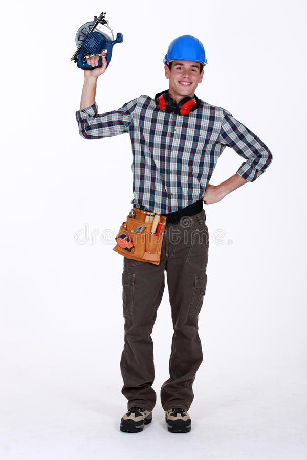 Construction Worker Using Circular Saw Royalty Free Stock Photography
