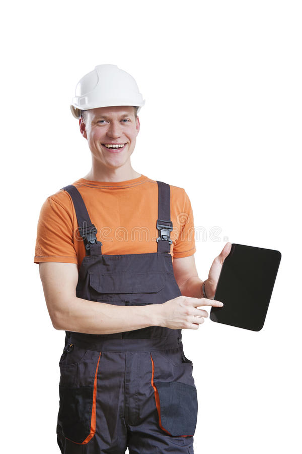 Construction worker using tablet royalty free stock photography