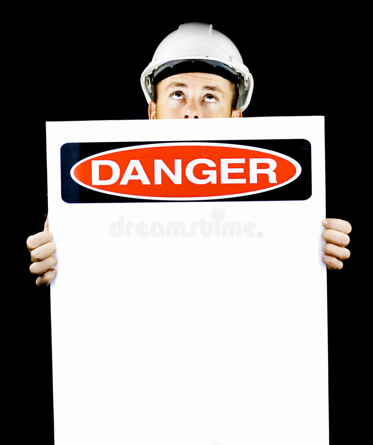 Download Construction Worker Warning Of Danger Stock Photo - Image: 24382470