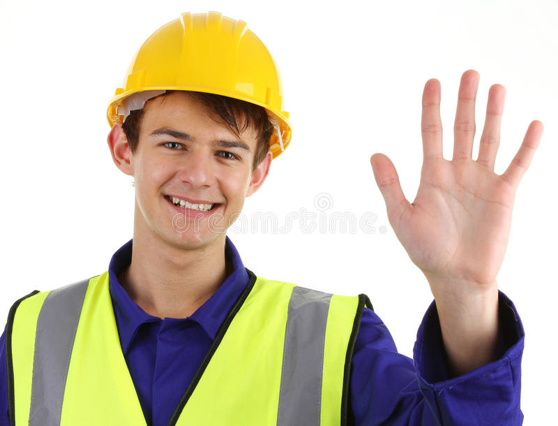 Construction worker waving stock image