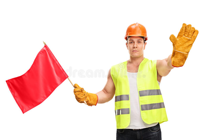 Construction worker waving a red flag. And making a stop hand gesture isolated on white background stock images