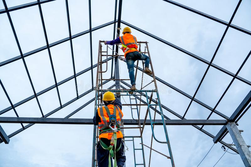 Construction worker wearing safety harness. stock images