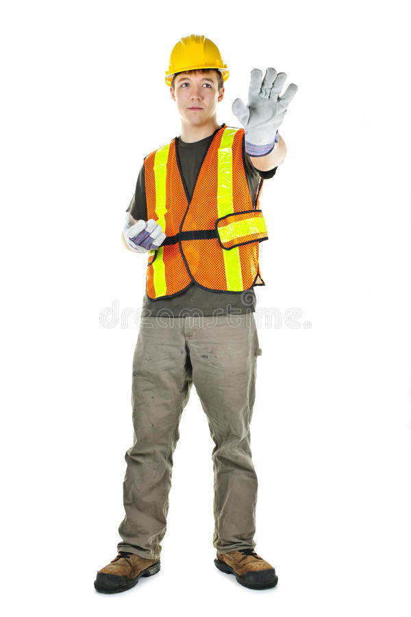 Construction worker on white background royalty free stock photo