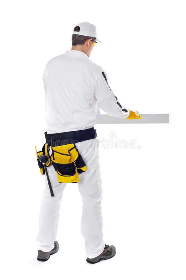 Download Construction Worker On White Background Stock Image - Image: 25670465