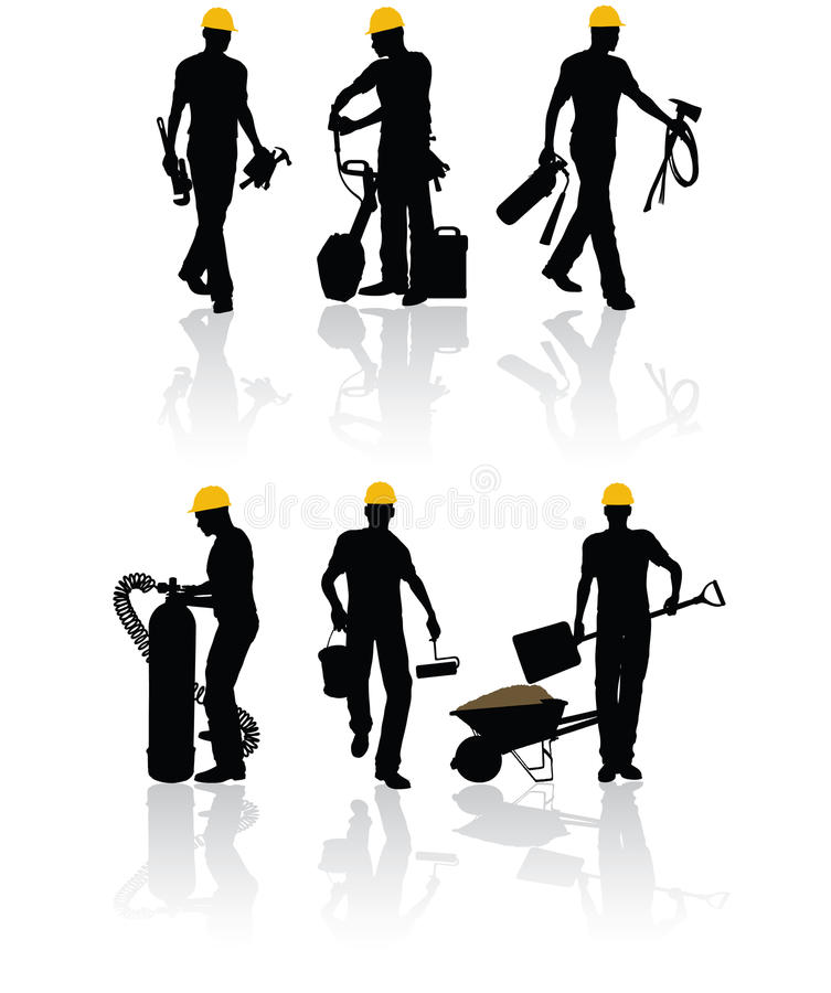 Construction workers. High quality vector construction workers with different tools royalty free illustration
