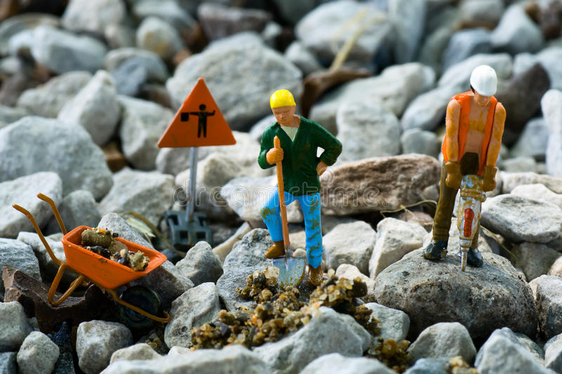Construction Workers. N scale model construction workers royalty free stock images