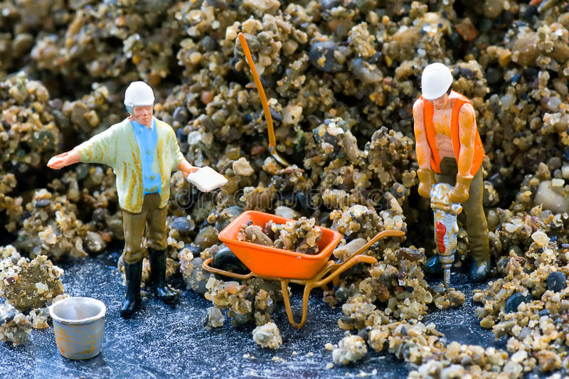 Construction workers. N scale model construction workers royalty free stock image