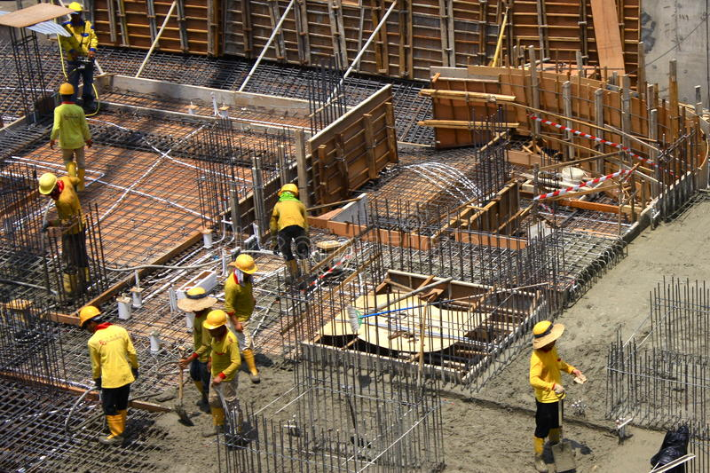 Construction workers in Asia royalty free stock photography