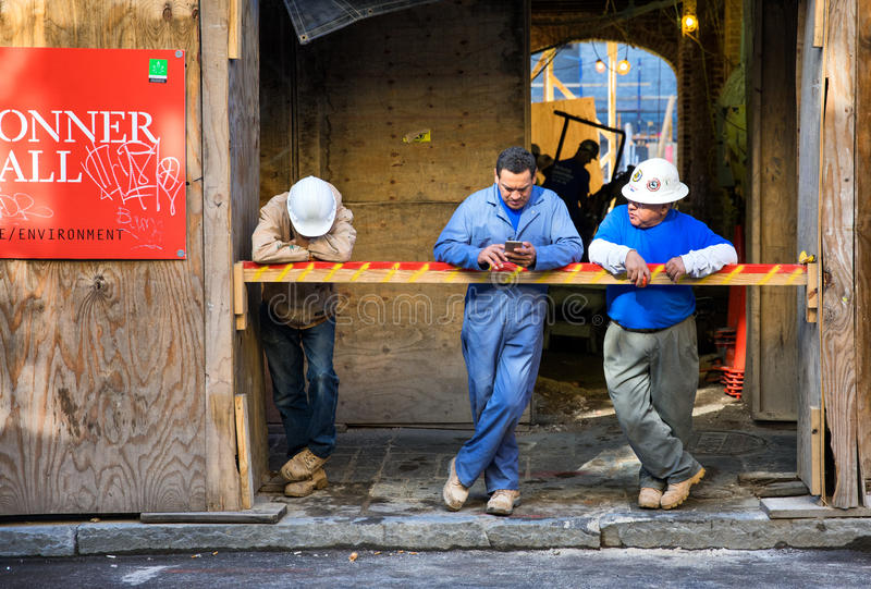 Construction workers on break royalty free stock photos