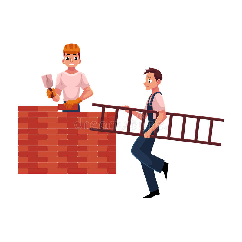 Construction workers, builders - building brick wall, another carrying ladder vector illustration