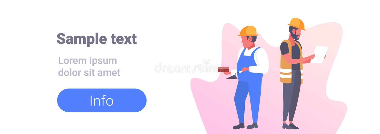 Construction workers couple industrial technicians men builders male cartoon characters full length horizontal copy royalty free illustration
