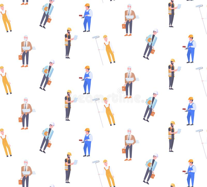 Construction workers different industrial technicians men builders seamless pattern male cartoon characters full length vector illustration