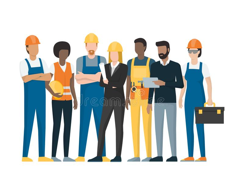 Construction workers and engineers stock illustration