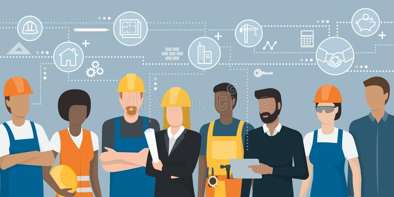 Construction workers and engineers team stock illustration