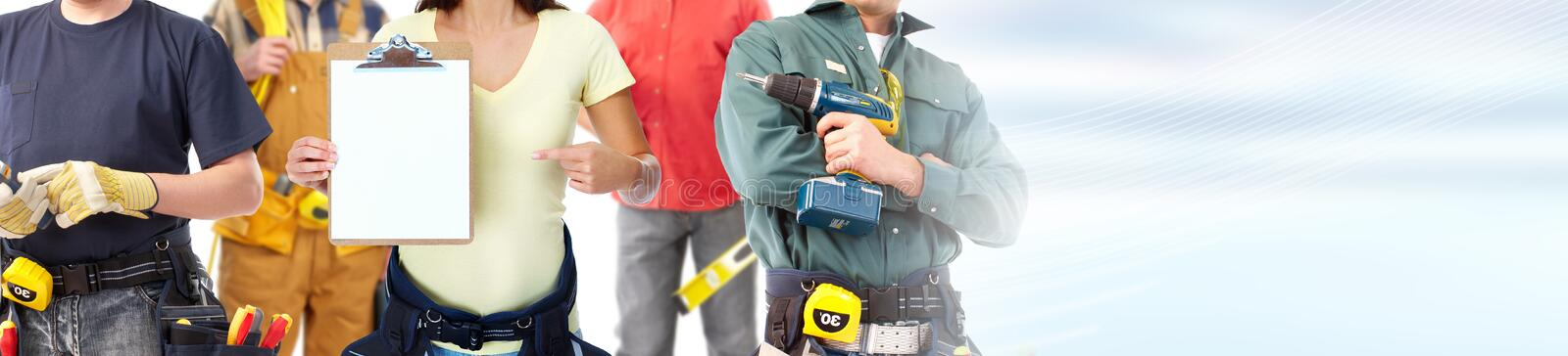 Construction workers group stock image